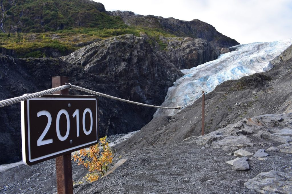 Exit glacier is retreating due to climate change. This sign marks where it was just in 2010.